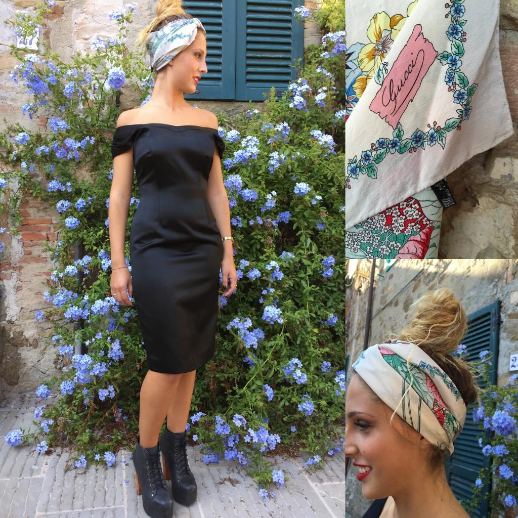 Il sempre attuale tubino nero e lintramontabile foulard di Gucci reinterpretati in versione hipster