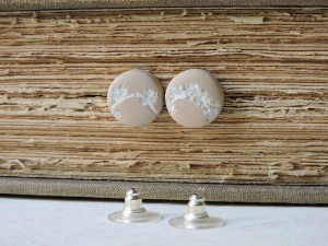 Shabby sand and white botanical stud earrings by A Dream of Leaves on Etsy